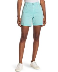 NYDJ Avery Colored Roll Cuff Denim Shorts - Blue