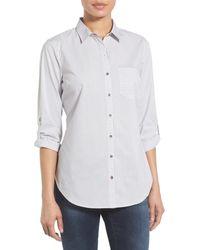 Sandra Ingrish Contrast Stripe Detail Cotton Roll Sleeve Shirt - Black