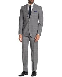 Hart Schaffner Marx Plaid Print New York Fit 2-piece Suit - Gray