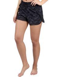 90 Degrees Mesh Hem Athletic Shorts - Black