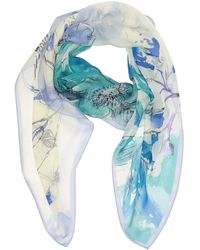 Vince Camuto Manor Silk Floral Printed Square Scarf - Blue