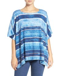 Lauren by Ralph Lauren - Stripe Cotton Blend Poncho - Lyst