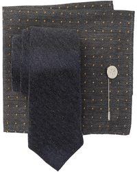 Ben Sherman Ledbury Chevron Tie, Pocket Square, & Lapel Pin Set - Black