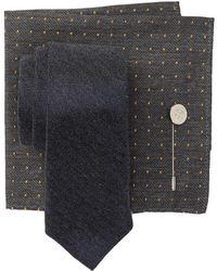 5c9bdd6865dd Ben Sherman 100% Silk Tie With Pocket Square & Lapel Pin Gift Set in Blue  for Men - Lyst