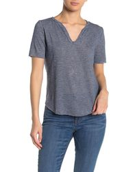 Project Social T Notch Neck Striped Raw Edge T-shirt - Blue