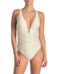 Athena Plunge Neck One-piece Swimsuit - Natural