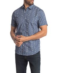 Report Collection Nautical Print Short Sleeve Slim Fit Sport Shirt - Blue