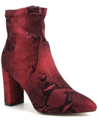 Catherine Malandrino Bodem Faux Suede Block Heel Stretch Bootie - Red
