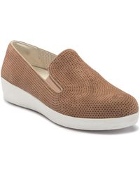 Fitflop - Superskate Perferated Wedge Slip-on Sneaker - Lyst