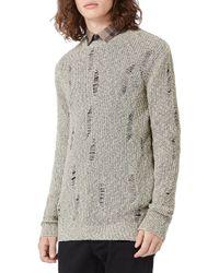 TOPMAN - Ripped Crewneck Sweater - Lyst