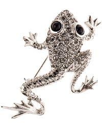 Oscar de la Renta - Swarovski Crystal Embellished Frog Brooch - Lyst