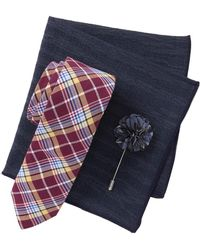 Original Penguin - Messer Plaid Tie, Pocket Square, & Lapel Pin Set - Lyst