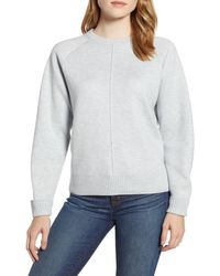 Lou & Grey Seamed Faux Cashmere Sweater - Gray