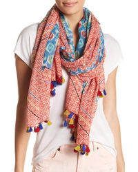 Spun By Subtle Luxury - Embroidered Stitched Print Scarf - Lyst