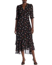 Sugarlips Fiore Floral Wrap Maxi Dress - Black