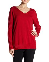 Vince Camuto - Ribbed Knit Drop Shoulder Tee - Lyst