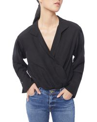 FRAME Button Up Shirt Bodysuit - Black