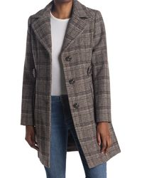 Gallery Plaid Button Front Coat - Brown