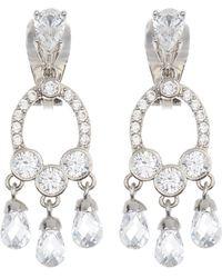 Carolee Cz Mini Chandelier Clip Earrings - Metallic