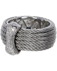 Alor - 18k White Gold, Stainless Steel & Gray Cbl Diamond Bar Ring - 0.12 Ctw - Lyst