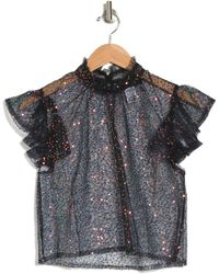 KNOWONECARES Beaded Sequin Mock Neck Top - Blue