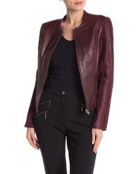 Lamarque - Raw Edge Strip Sleeve Moto Jacket - Lyst