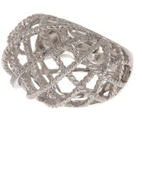 Effy Sterling Silver Diamond Pave Openwork Caged Ring - 0.22 Ctw - Size 7 - Metallic