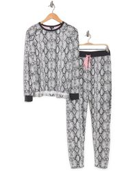 Cozy Zoe Printed Top & Pants 2-piece Pajama Set - Gray