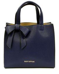 Suzy Levian Pebbled Faux Leather Bow Satchel - Blue