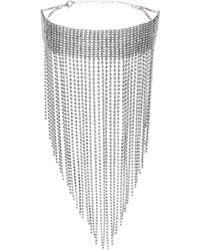 Steve Madden - Pave Rhinestone Fringe Choker Necklace - Lyst