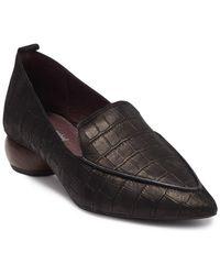 Jeffrey Campbell Vinny Pointed Toe Croc-embossed Leather Loafer - Black