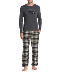 Lucky Brand Printed Shirt & Pants 2-piece Pajama Set - Gray