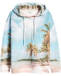 Blank NYC Print French Terry Hoodie - Blue