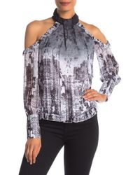 Bebe - Printed Cold Shoulder Ruffle Blouse - Lyst