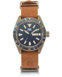 Frye Men's Campus Distressed Dial Tan Leather Nato Strap Watch, 44mm - Metallic