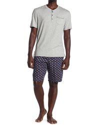 Robert Graham Heathered Pocket T-shirt & Skull Shorts 2-piece Pajama Set - Blue