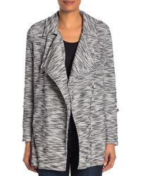 Bagatelle Drape Front Tweed Blazer - Grey