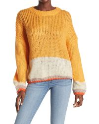 Mustard Seed Colorblock Balloon Sleeve Sweater - Multicolor
