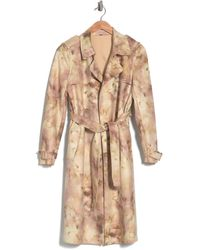Philosophy Apparel Belted Faux Suede Trench Coat - Natural