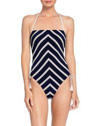Robin Piccone Abi One-piece Bandeau Swimsuit - Blue