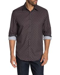 Con.struct Slim Fit Mini Circle Print 4 Way Stretch Long Sleeve Shirt - Black