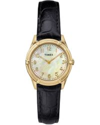 Timex - Women's Easton Mother Of Pearl Croc Embossed Leather Strap Watch, 27mm - Lyst