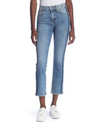 7 For All Mankind - Edie Side Stripe Straight Leg Cropped Jeans - Lyst