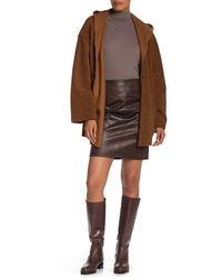 Max Studio Faux Leather Skirt - Brown