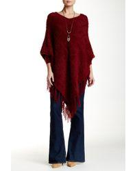 Insight - Wool Blend V-neck Fuzzy Knit Fringe Poncho - Lyst