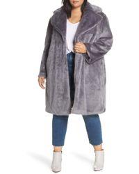 Lost Ink - Faux Fur Coat (plus Size) - Lyst