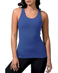 90 Degrees Solid Racerback Tank - Blue