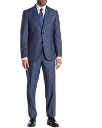 JB Britches Logan French Blue Plaid Two Button Notch Lapel Wool Classic Fit Suit
