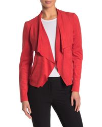 Bagatelle Draped Faux Suede Jacket - Red