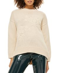 TOPSHOP - Tonal Embroidered Jumper - Lyst